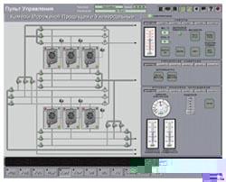 Мнемосхема и панель управления камер мороженой продукции