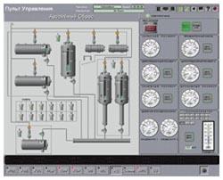 Мнемосхема и панель управления системой аварийного сброса