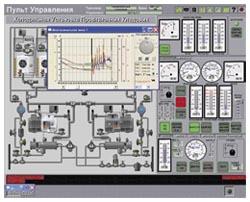 Мнемосхема и панель управления холодильной установкой провизионных кладовых
