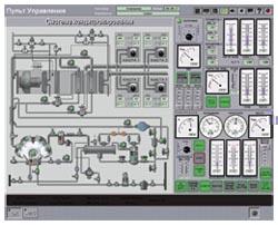 Мнемосхема и панель управления системы кондиционирования