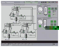 Мнемосхема и панель управления льдогенераторов